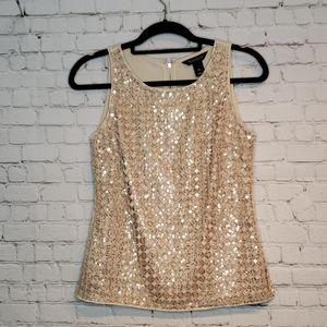WHBM Top Sleeveless gold embellishments XS